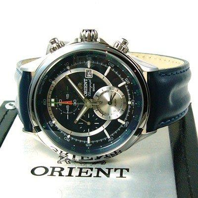 ORIENT Sporty Quarz Alarm Chronograph Tachymeter Leder blau CTD0T003D0