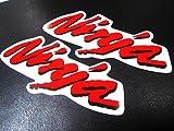 J-124×2 Ninja ニンジャ ステッカー:2枚1セット 赤 Ninja250R Ninja400R Ninja600 ZX6R ZX9R ZX10R ZX12R ZX14R GPZ900R GPZ750R