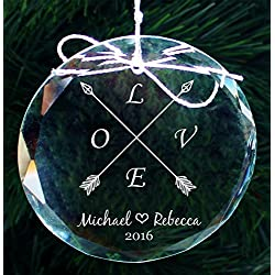 Engraved LOVE Couples Crystal Ornament, Personalized Our First Christmas Ornaments, Engagement Gifts, Wedding Gifts , COR33