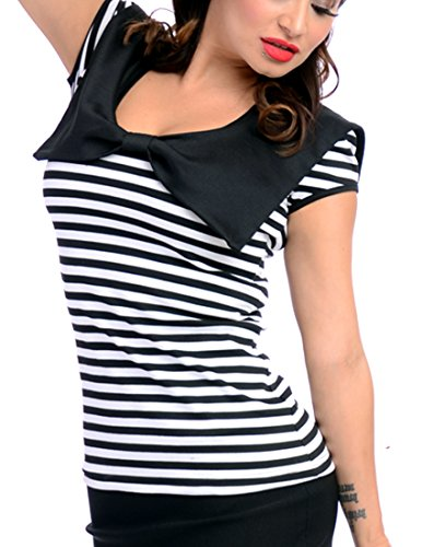Steady Clothing Women's Bow Sailor Collar Black White Striped Loli Top