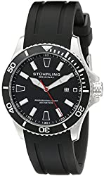 Stuhrling Original Aquadiver Regatta Mens Black Watch - Quartz Analog Swim Sports Watch - Black Dial Date Display Waterproof Watch - Luminous Professional Dive Watch with rubber Strap 706.01
