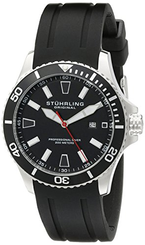 Stuhrling-Original-Aquadiver-Regatta-Mens-Black-Watch-Quartz-Analog-Swim-Sports-Watch-Black-Dial-Date-Display-Waterproof-Watch-Luminous-Professional-Dive-Watch-with-rubber-Strap-70601