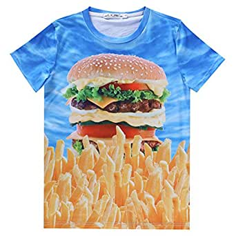 3D Animal Print French Fries Bakery Short Sleeve Funny (L): Clothing