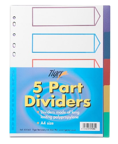 Tiger Trennblätter für Aktenordner, 5-teilig, für Farbkodierung, für Ringbuchalben, DIN A4