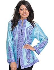 Exotic India Bleached-Aqua Jacket From Kashmir With Ari Hand-Embroidered - Blue