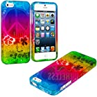 myLife Rainbow Hippie Flower Power Series (2 Piece Snap On) Hardshell Plates Case for the iPhone 5/5S (5G) 5th Generation Touch Phone (Clip Fitted Front and Back Solid Cover Case + Rubberized Tough Armor Skin)