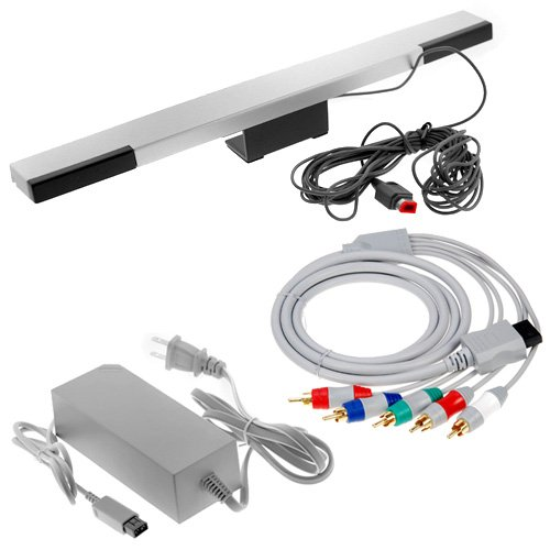 GTMax Wired SenseBar Sensor Bar + 6 feet Gold Plated Component Cable + AC Power For Nintendo Wii