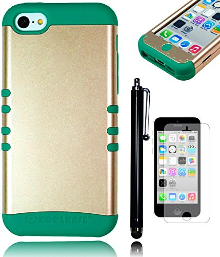 Bastex Heavy Duty Hybrid Case For Apple Iphone 5C, 5Th Generation - Soft Teal Silicone Gel Cover Surrounded By A Gold Shield Shell - Includes Stylus And Screen Protector front-848113