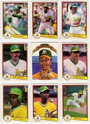 1982 Oakland Athletics Donruss Baseball Team Set (25 Cards) (Rickey Henderson) (Tony Armas) (Dwayne Murphy) (Rick Lankford) (Mike Norris) (Wayne Gross) (Dave McKay) and More