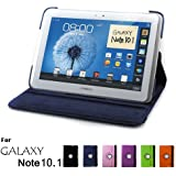 Samsung Galaxy Note 10.1 Case, GMYLE(R) Folio Case 360 for Samsung Galaxy Note 10.1 N8000 - Deep Blue PU Leather 360 Degree Rotating Swivel Folio Case Cover (With Adjustable Multi Angle Stand)