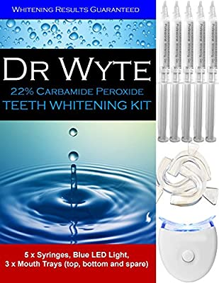 ? Teeth Whitening Kit Deluxe ? Home Bleaching by Dr Wyte with 5 XL Carbamide Peroxide Gel Syringes, Blue LED Whitener Accelerator Light and 3 Thermoform Moldable Mouth Trays. Instant Results