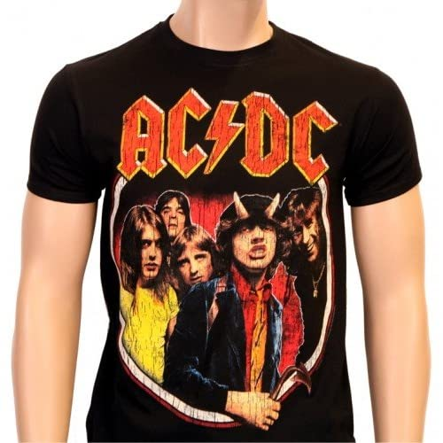 Coole-Fun-T-Shirts-AC-DC-Highway-to-Hell-T-Shirt-Vintage-Distressed-black-Size-L