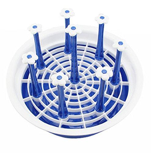 Fashionclubs Plastic Round Bottle Dish Mug Drying Drainer Rack (Blue)