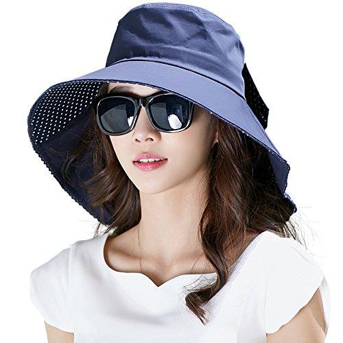 Siggi Womens Wide Brim Summer Sun Flap Bill Cap Cotton Hat Neck Cover UPF 50+ Navy (Uv Protection Hat compare prices)
