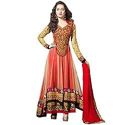 Prachi Silk Mills Women`s Georgette Embroidered Semi-stitched Salwar Suit Dupatta Material(Light Red Anarkali)