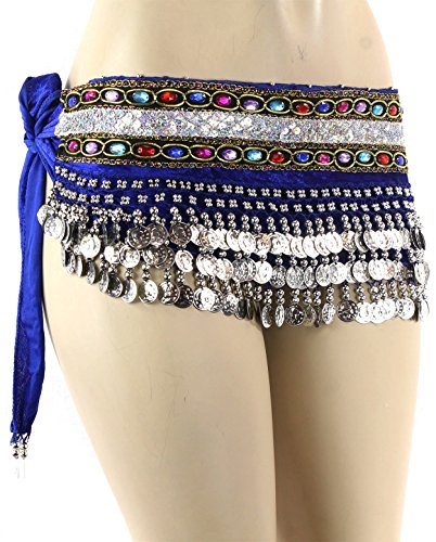 Blue Silver Coins Velvet Rave EDC Belly Dance Skirt Hip Scarf Costume 193 coins
