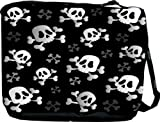 Rikki KnightTM Shaded Swirl of Skulls Messenger Bag - Book Bag - School Bag - With Matching Purse with zipper