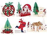 3D Pop Up Christmas Greeting Cards Handmade Paper Craft For Holiday - 6 Cards & Envelopes