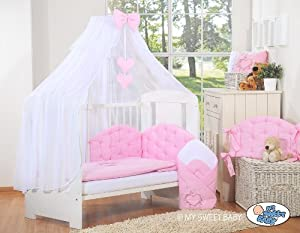 LUXURY & ABSOLUTE BEAUTIFUL with embroidered heart pink baby bedding set for your little one cot bed 140/70cm or cot 120/60cm (includes  cover x 2, bumper made of 3 pcs, big mosquito net / canopy / drape made of chiffon to cover all 4 sides of the bed, decorative bow & hearts) + drape holder (fits most types of cots and cot beds with ends/heads up to 4cm thick)       Babyreviews