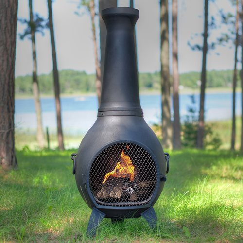 Outdoor-Chimenea-Fireplace-Prairie-in-Charcoal-Finish-Without-Gas