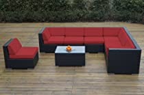 Hot Sale Ohana Collection PN0804SR Sunbrella Outdoor Patio Wicker Furniture 8-Piece Couch Set with Free Patio Cover, Red