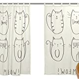 USAKI(ユサキ)高品質 おしゃれ 薄手 柔らかい シェードカーテン紗 ドアカーテン,装飾 窓 部屋 玄関 ベッドルーム 客間用 遮光 カーテン (幅:140cm x丈:210cmx2枚組)かわいい アニメ キャット 猫 M01
