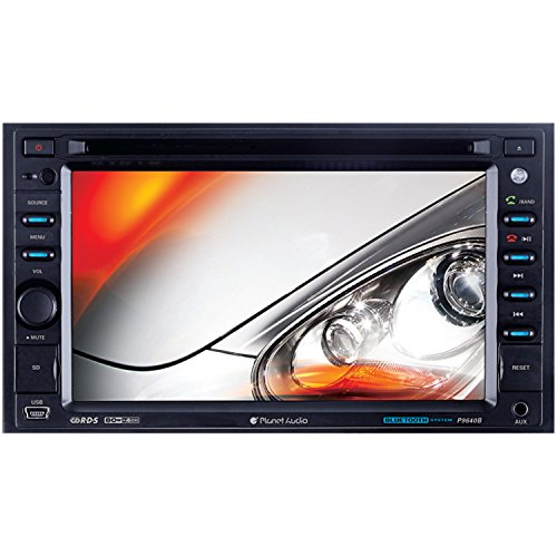 Planet Audio P9640B In-Dash Double-Din 6.2-inch Touchscreen DVD/CD/USB/SD/MP4/MP3 Player Receiver Bluetooth Streaming Bluetooth Hands-free with Remote