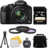 "Panasonic LUMIX DMC-FZ70 Digital Camera 16GB Accessory Bundle includes: LUMIX DMC-FZ70 16.1 MP Digital Camera with 60x Optical Image Stabilized Zoom, Carry Case, 16GB Memory Card, 55mm Filter kit (set of 3), Card Reader, 5"" Mini Tripod, & Cloth"