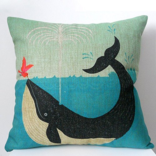 "MSY Cotton Linen Square Decorative Retro Throw Pillow Case Vintage Cushion Cover Whale and Bird Friend 18 ""X18 """