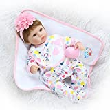 Real Looking Reborn Baby Dolls Girls Silicone Newborn Toddler Floral Jumpsuit Eyes Open 17 inch (Color: Pink 5)