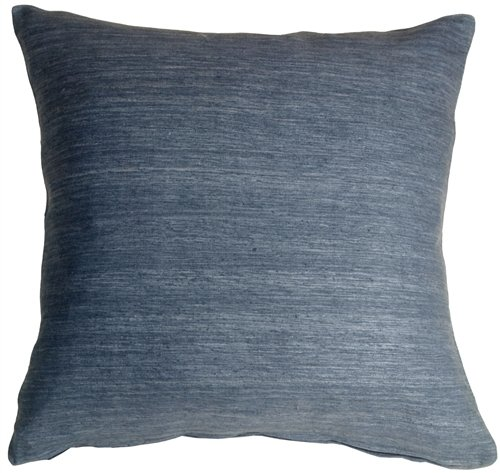 Pillow Decor - Tussar Silk Gray Blue 22x22 Throw Pillow