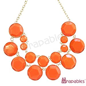 Wrapables Designer Inspired Double Layer Bubble Necklace, Coral