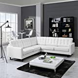 Empress 3 Piece Leather Sectional Sofa Set, White
