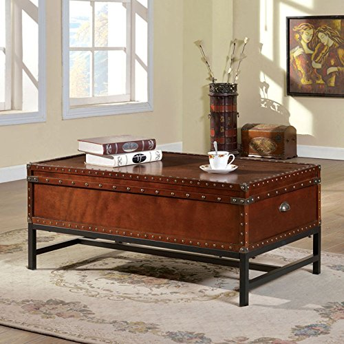 Cherry Wood Trunk Coffee Table: Milbank Old English Style Cherry Finish Coffee Table