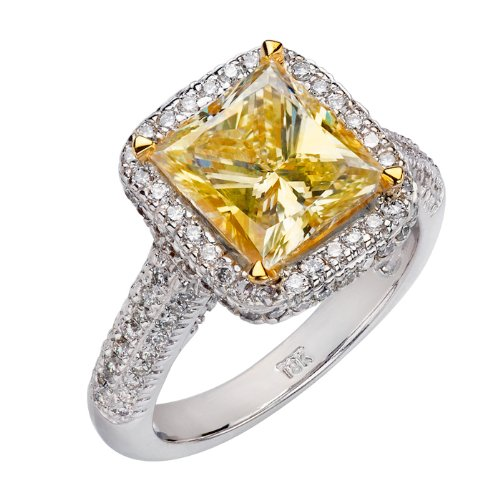 18K White Gold Fancy Light Yellow Princess Cut