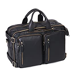 Leathario Genuine Leather Multifunction Messenger Bag Backpack mens shoulder bag(Black)