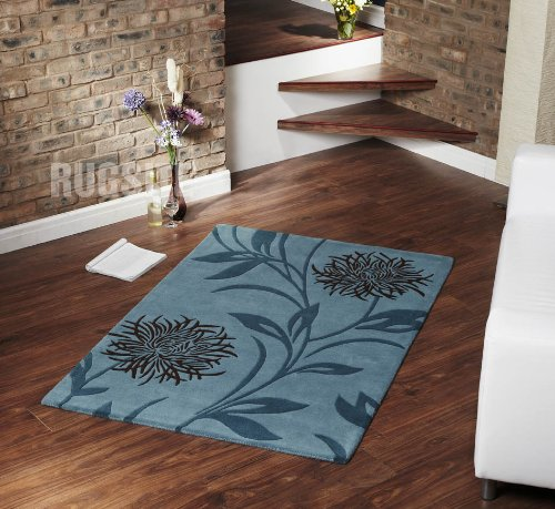 100% Wool Thistle Flower rug. 120x170cm Teal Chocolate
