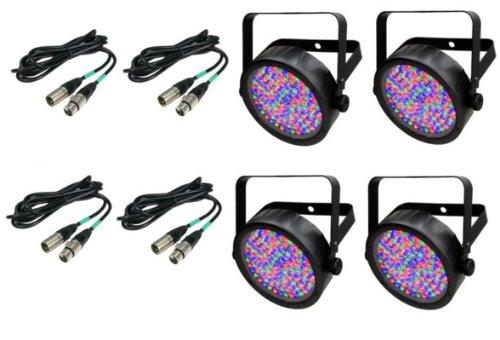 (4) Chauvet Slimpar 56 Led Slim Par Can Pro Dj Rgb Lighting Effects + Dmx Cables