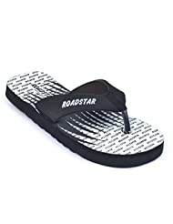 Roadstar Men's Black Rubber Flip-Flops