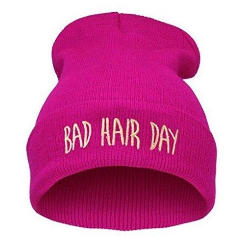 RULIU Unisex-adult's Bad Hair Day Beanie Knitted Hats Red Rose Pink