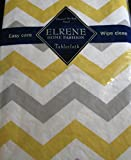 Flannel Backed Vinyl Tablecloths By Elrene -Yellow and Gray Zig Zag- Assorted Sizes - Oblong and Round (52 X 70 Oblong)