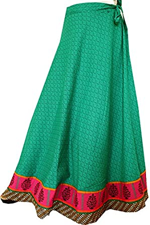 indian skirt wrap around womens cotton clothing blue