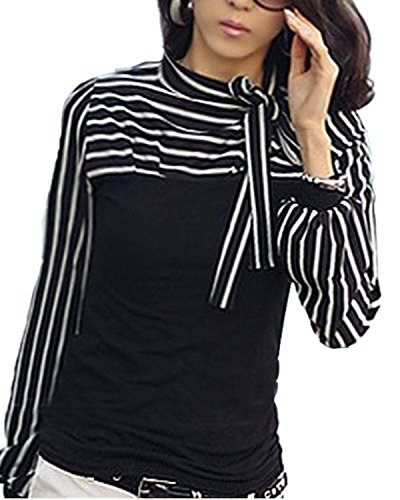 Minetom T-Shirt Camicia A Righe Maniche Lunghe Alto Collare Top Per Le Donne ( Nero IT 42 )