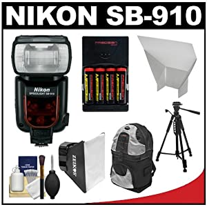 Nikon SB-910 AF Speedlight Flash with Batteries & Charger + Softbox + Reflector + Cleaning Kit for D3100, D5100, D7000, D700, D3s, D3x Digital SLR Cameras