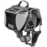 Pawaboo Dog Backpack, Pet Adjustable Saddle Bag Harness Carrier, for Traveling Hiking Camping, Medium Size, Black & Gray