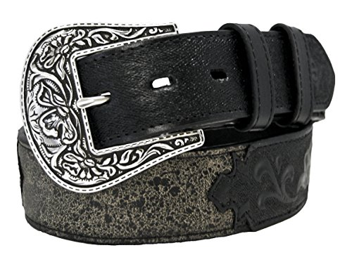 Stetson Wheeler 1.5 inch Antiqued Leather Belt with Hand-Tooled Overlay (Hand Tooled Belt compare prices)
