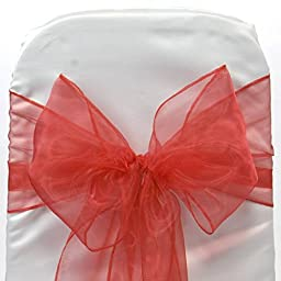 Mds Pack of 100 Organza chair sashes bow Sash for wedding and Events Supplies Party Decoration chair cover sash -Red