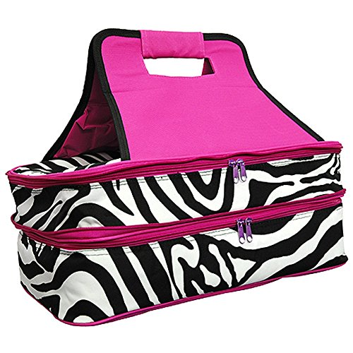Zebra Print Insulated Casserole Thermal Cooler Bag Carrier
