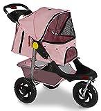 OxGord Pink Pet Stroller Cat Dog 3-Wheel Walk Jogger Travel Folding Carrier Deluxe