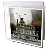 3dRose Set of 12 Greeting Cards, A Creepy Haunted Halloween House with Full Moon and Bats (gc_181758_2)